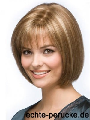 Blonde Bob Wig Chin Length Synthetic Capless Straight Style