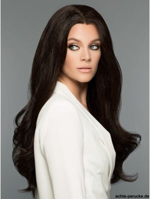 Black Without Bangs Wavy 26 inch 100% Human Hair Wigs