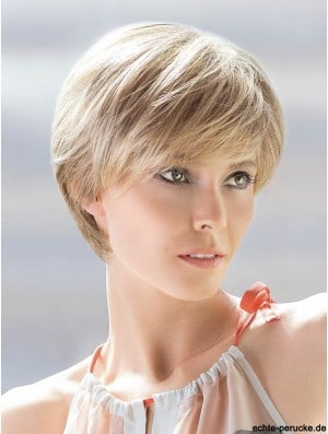 Blonde With Bangs Straight 8 inch Human Hair Styles