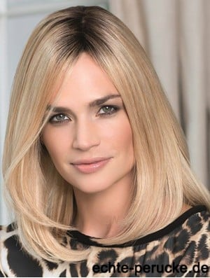 Human Hair Lace Front Wig Shoulder Length Straight Style Blonde Color