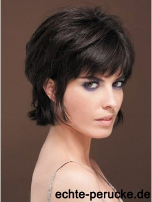 Naturally Straight Human Hair Wig With Bangs Capless Short Length Black Color