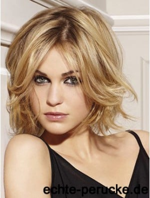 Real Hair Lace Front Wigs Layered Cut Chin Length Wavy Style
