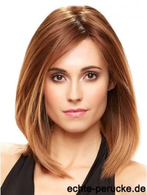 Short Bob Wig With Monofilament Shoulder Length Straight Style Auburn Color