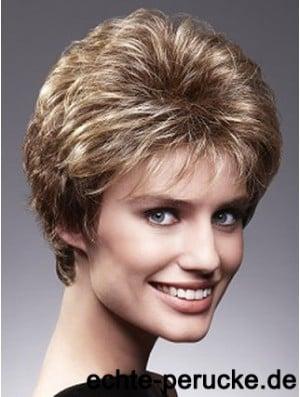 Beautiful Brown Cropped Wavy Layered 4 inch Human Hair Wigs