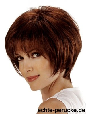 Human Bob Hair Wigs Remy Lace Front Chin Length Auburn Color