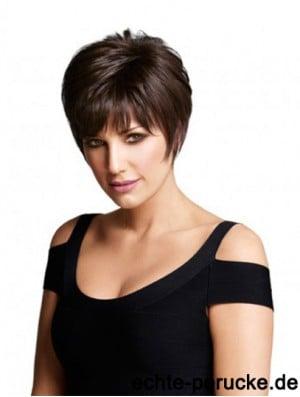 Monofilament Human Hair Wigs UK Layered Cut Short Length Straight Style