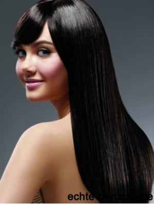 22 inch Black Long With Bangs Yaki Hairstyles Lace Wigs