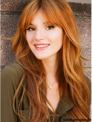 With Bangs Long Copper Straight 24 inch Good Human Hair Bella Thorne Wigs