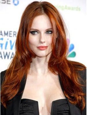 Without Bangs Long Copper Straight 22 inch Discount Human Hair Alyssa Campanella Wigs