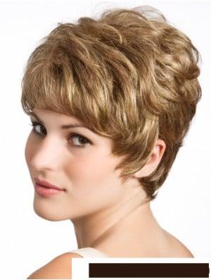 Wavy 8 inch Blonde Boycuts Human Hair For Sale