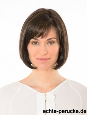 Lace Front Straight Bobs 10 inch Brown Chin Length Human Hair Wigs Full Wig