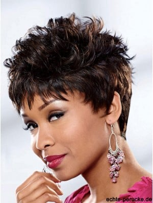 Curly African American Wigs Brown Color Cropped Length Curly Style