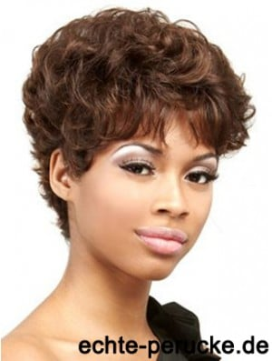 Cropped Auburn Curly Boycuts Convenient African American Wigs