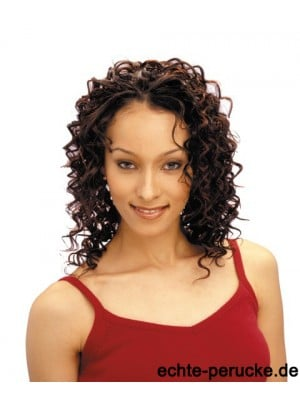 Shoulder Length Auburn Curly Without Bangs Sleek African American Wigs