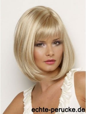 Synthetic Wig Chin Length Blonde Color Straight Style With Bangs