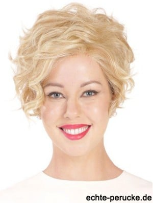 Synthetic Flexibility Cropped Blonde Curly Monofilament Wigs
