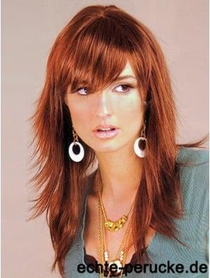 Synthetic Hair UK Auburn Color Long Length Layered Cut With Capless