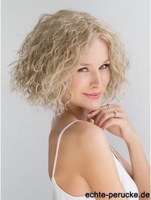 Blonde Chin Length Curly Without Bangs 10 inch Fashionable Medium Wigs