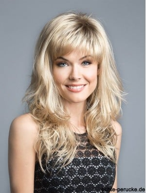 Blonde 16 inch With Bangs Discount Capless Synthetic Wigs