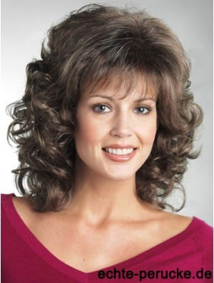 Wigs For The Elderly Lady With Bangs Curly Style Shoulder Length
