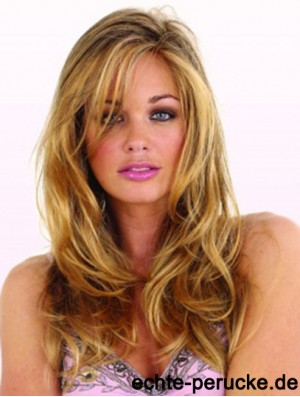 22 inch Wavy With Bangs Capless Blonde Discount Long Wigs