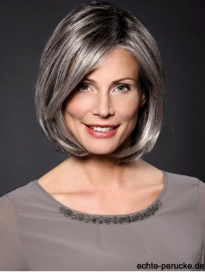 Straight Grey 10 inch Grey Synthetic 100% Hand-tied Chin Length Wigs For Women