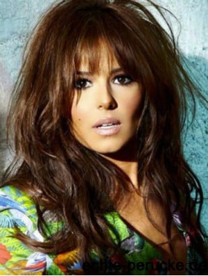 Cheryl Cole Hair Wig 100% Hand Tied Wavy Style With Bangs