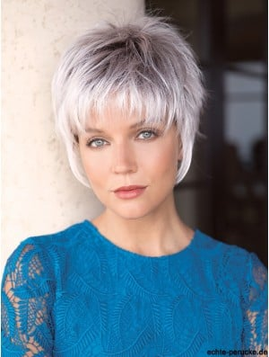 Capless Straight Cropped 6 inch Salt And Pepper Wig