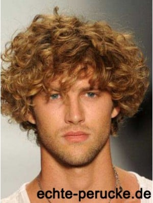 Blonde 8 inch Remy Human Curly Layered Lace Front Mens Wigs