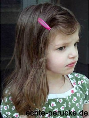 Straight Shoulder Length Brown Remy Human Hair Lace Front Kids Wigs