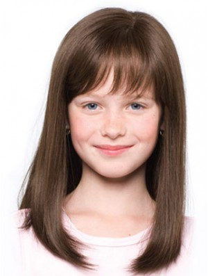 Straight Shoulder Length Brown Synthetic 100% Hand-tied Kids Wigs