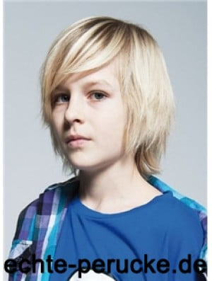 Straight Chin Length Blonde Remy Human Hair Capless Kids Wigs