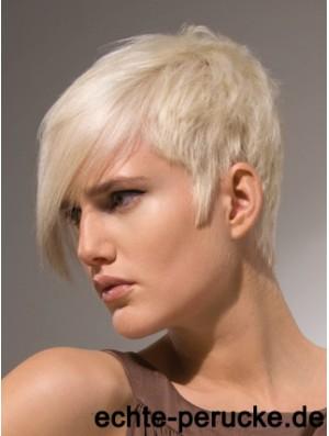 Capless Boycuts Short Straight 8 inch Platinum Blonde Stylish Fashion Wigs