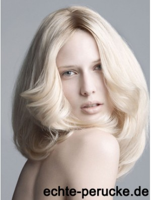 Lace Front Without Bangs Shoulder Length Wavy 14 inch Platinum Blonde New Fashion Wigs
