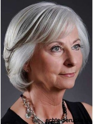 Fashion Wigs Grey Cut Straight Style Chin Length With Capless